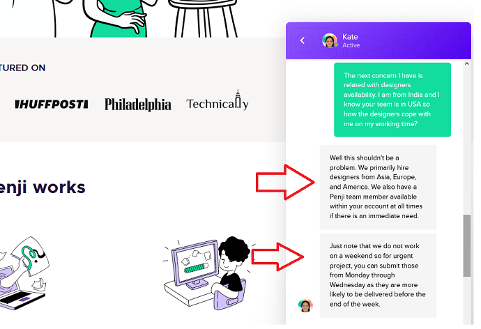 chat with Penji support team to learn about designers availability