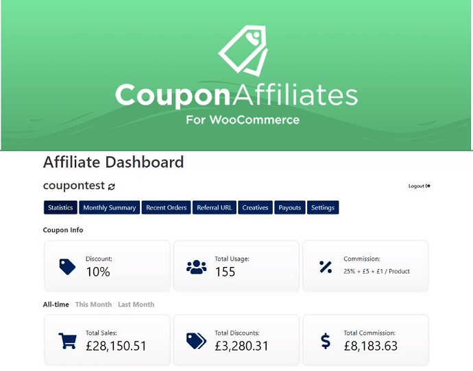 3. Coupon Affiliates for WooCommerce - Only WordPress Referral Program for WooCommerce Coupons