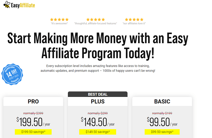 EasyAffiliate Referral Program - Pricing and Plans