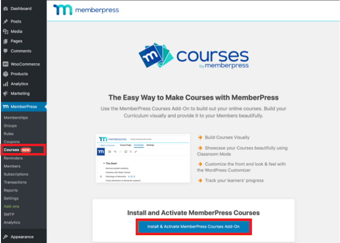 MemberPress Courses Setup -Step 1