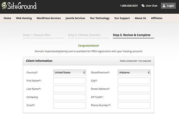siteground registration