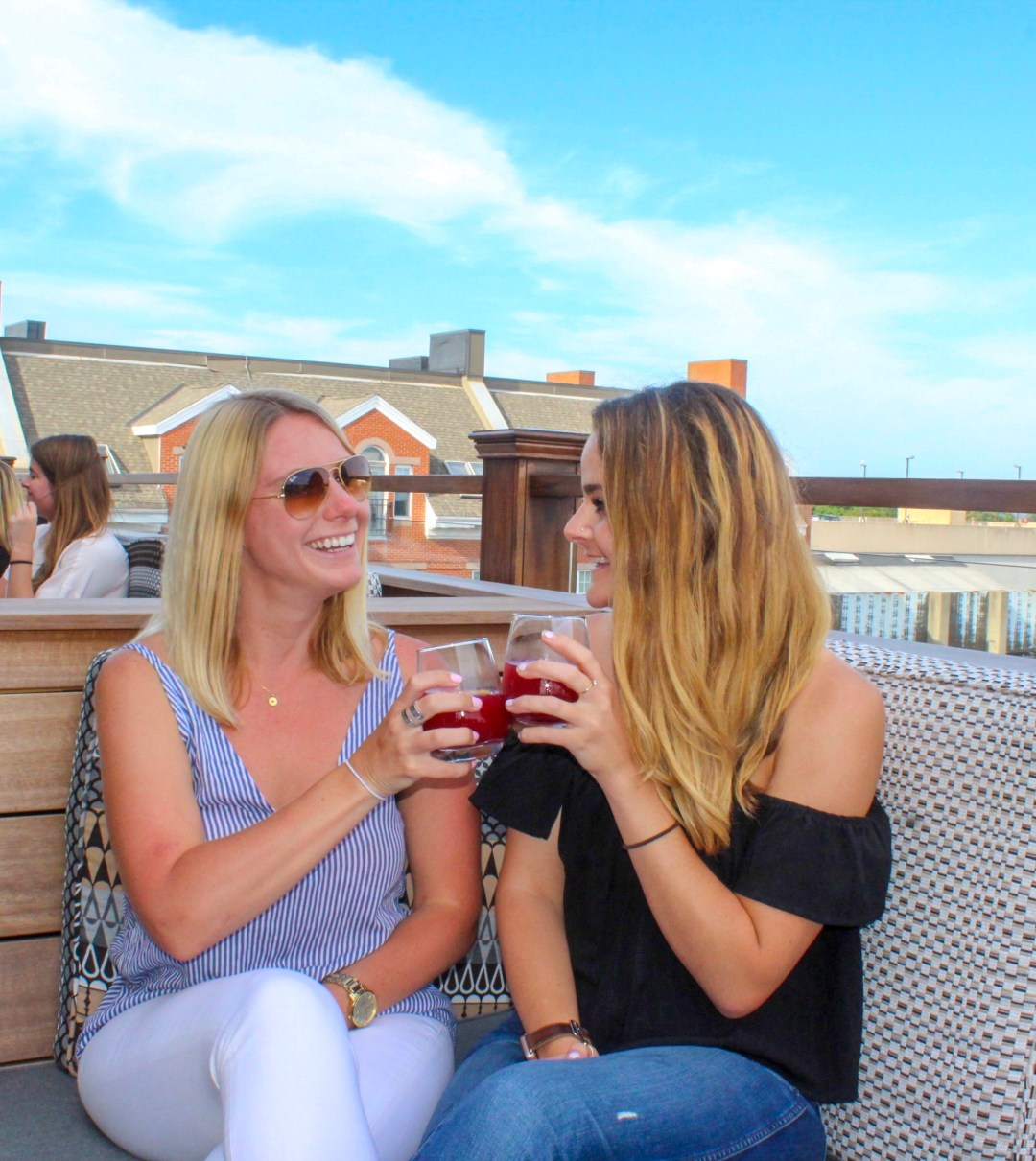 Two girls cheersing on a rooftop