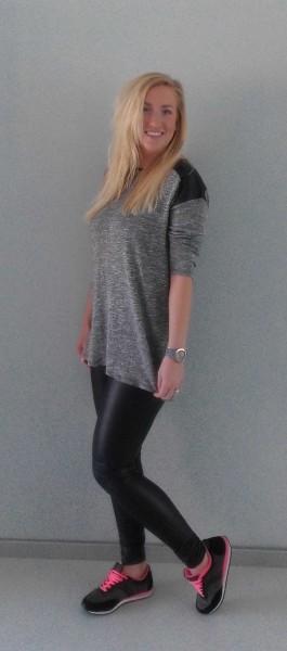 OOTD-outfit-leather-legging-leer-bershka-shirt-pull-bear-leren-schouders-grey-grijs-nike-gympen-2