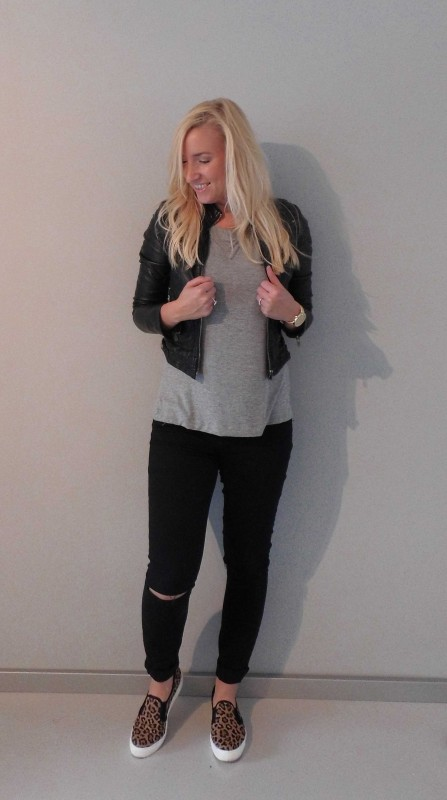 OOTD-outfit-of-the-day-jeans-knee-cut-black-forever-21-leopard-slip-ons-sasha-shirt-sting-black-leather-jacket-zara-zwart-leren-jasje-stoer-casual-ripped-jeans-2