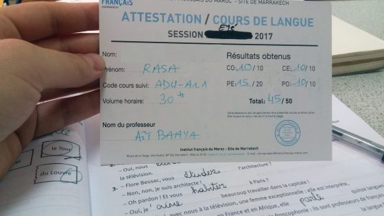 course paper attestation french morocco