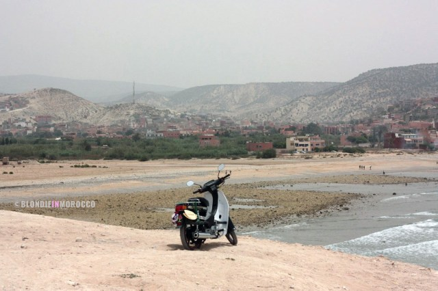 motorcycle, scooter, beach, hill, mountains