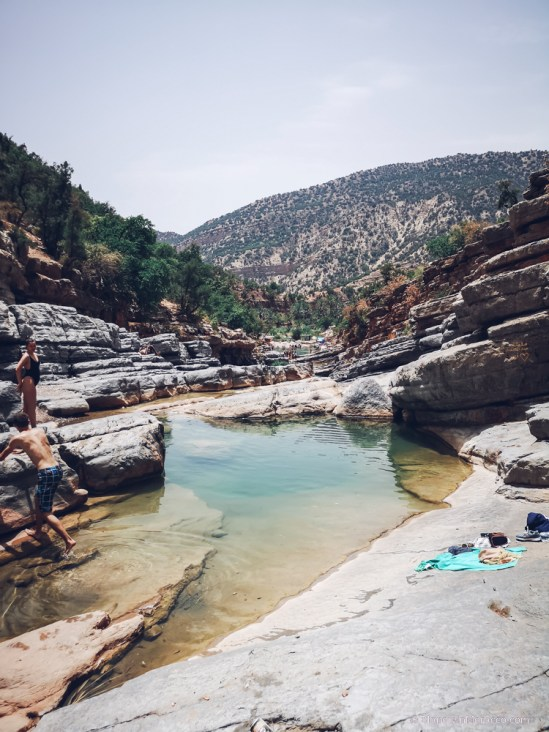 pools jumping paradise valley morocco river palm trees