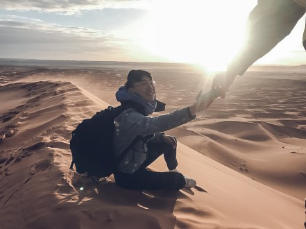 desert morocco dunes sand photo man