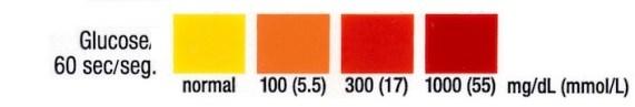 sugar in urine chart strips
