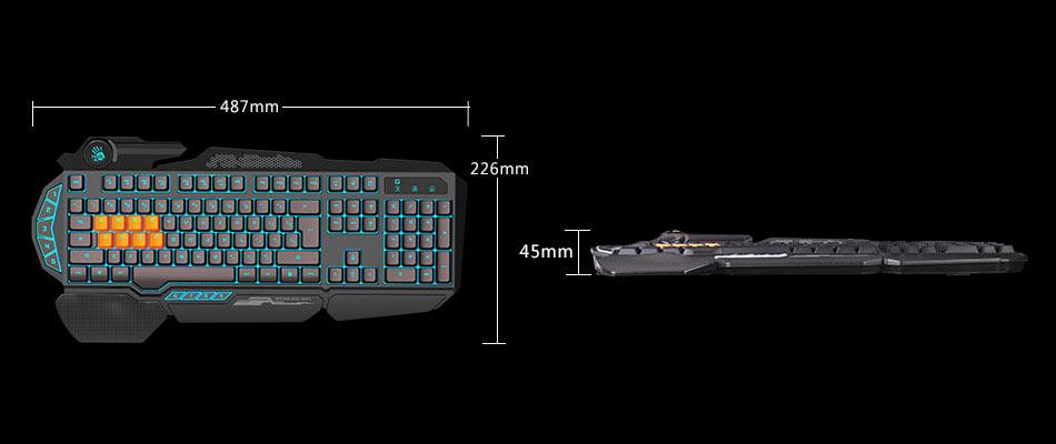 A4Tech Bloody B318 8 Silicon Key Light Strike Gaming Black Color Mechanical  Keyboard