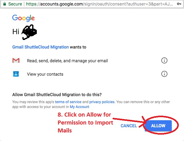 Permission to Import Mails - Take Backup of One Gmail Inbox to Another Gmail Account
