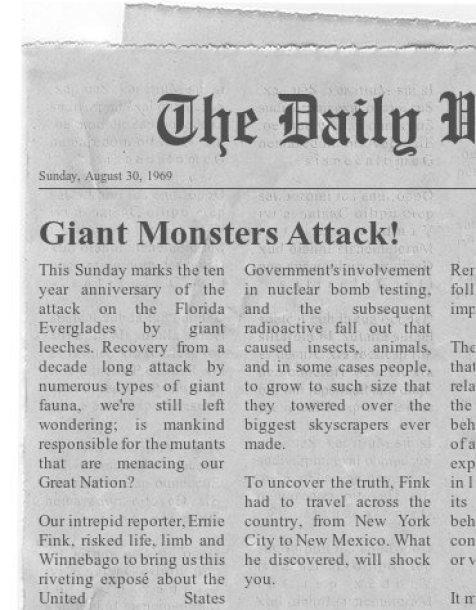 giant monster newspaper clipping