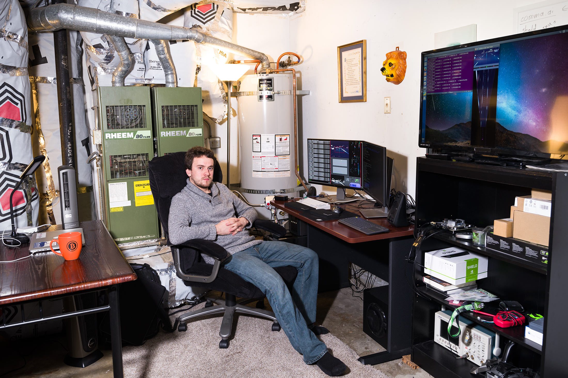 George Hotz in his garage