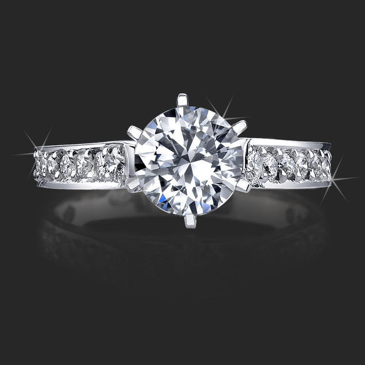 Reverse Tapered Gold Engagement Ring With Pave Set