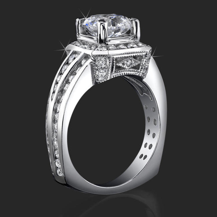 Trio Channel Set Round Diamonds With Artistic European Style Thick Band Halo Head Bbr352