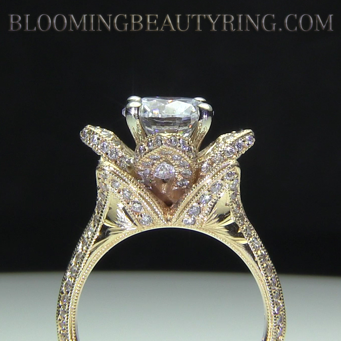 Yellow Gold Large Hand Engraved Blooming Beauty Flower Diamond Engagement Ring Bbr434ygen