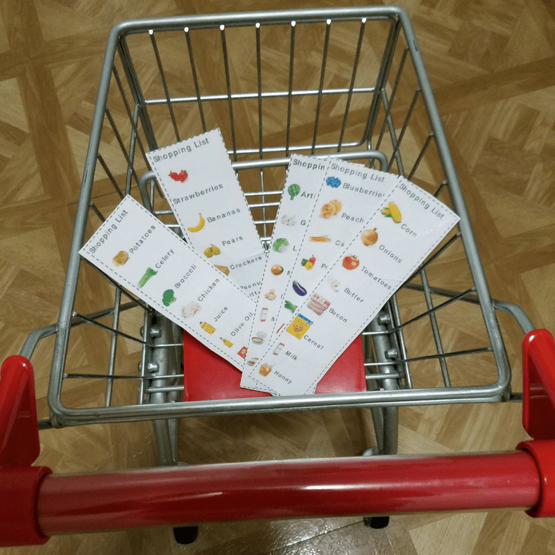 Pretend Play Shopping Lists are a perfect addition for pretend play supermarket. Which is perfect for toddlers and preschoolers and beyond.