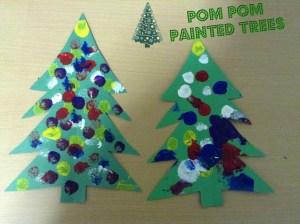 Christmas Crafts-Pom Pom Painting Christmas Tree