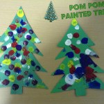 Christmas Crafts-Pom Pom Painting Christmas Tree