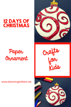 Crafts for Kids- Christmas Crafts- Paper Christmas Ornament craft. Looking for a fun craft this winter season for your kids? This paper christmas ornament craft is adorable and fun and it super easy.