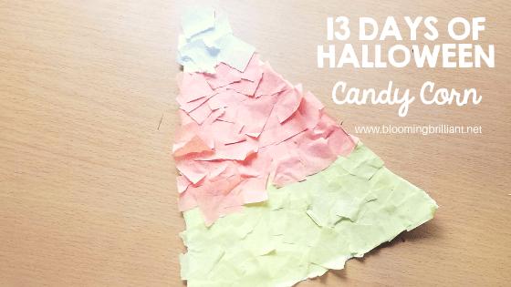 Crafts for Kids- Halloween Candy Corn Craft! Looking for a fun Halloween Craft for your kids? This Halloween Candy Corn Craft is both so simple and fun! #CraftsforKids #Preschool #Toddlers