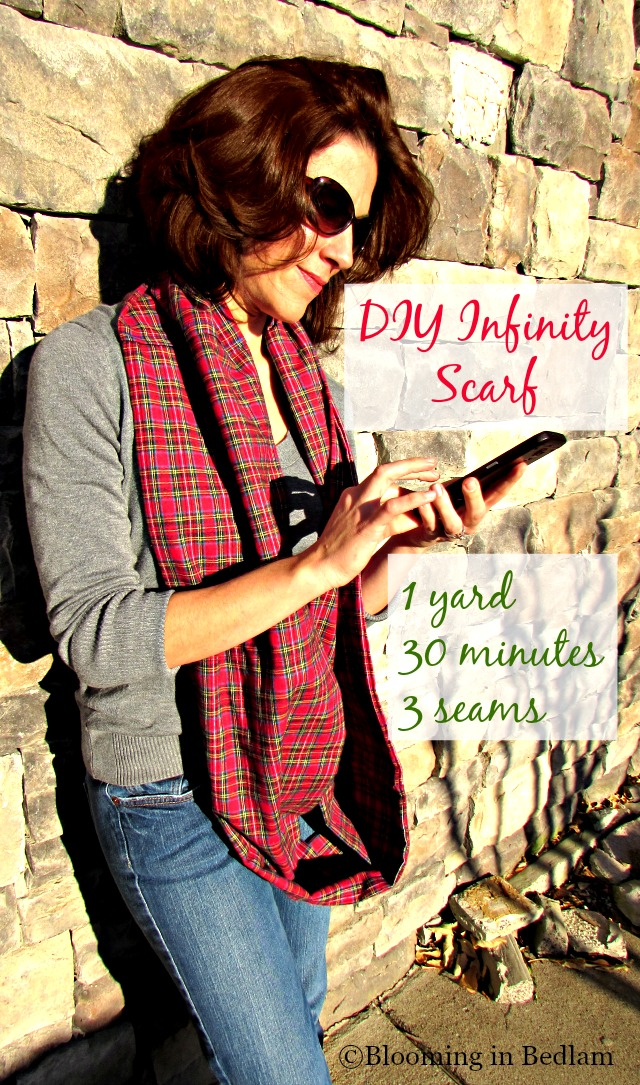This DIY Infinity Scarf Tutorial is so easy!! One yard of fabric, 3 seams and 30 minutes is all it takes! Feed your scarf addiction without breaking the bank!