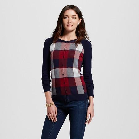 Women's Favorite Cardigan Long Sleeve Plaid Navy - Merona TARGET $22.99