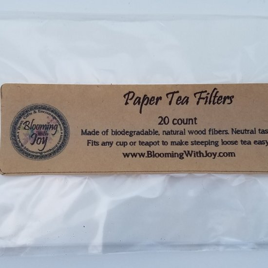 paper tea filters blooming with joy