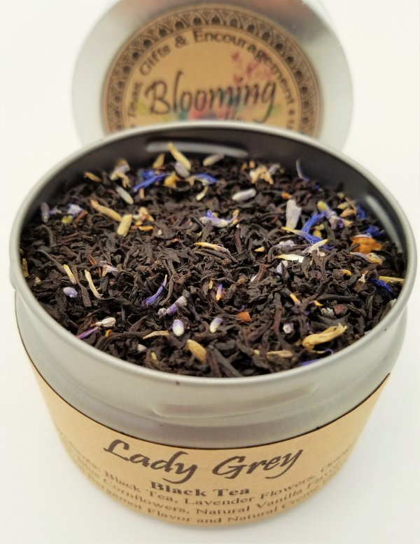 lady grey tea blooming with joy