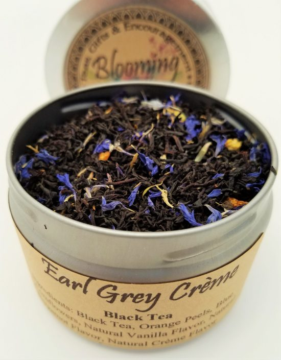 earl grey creme tea blooming with joy