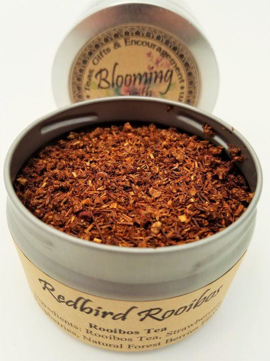 redbird rooibos tea blooming with joy
