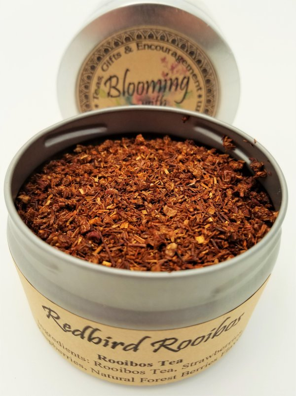 redbird rooibos tea blooming with joy