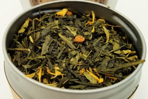 fresh citrus green tea blooming with joy