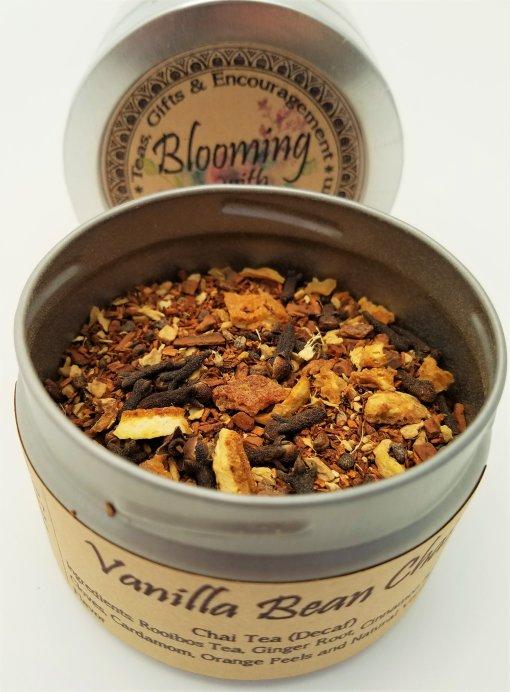 vanilla bean chai tea blooming with joy