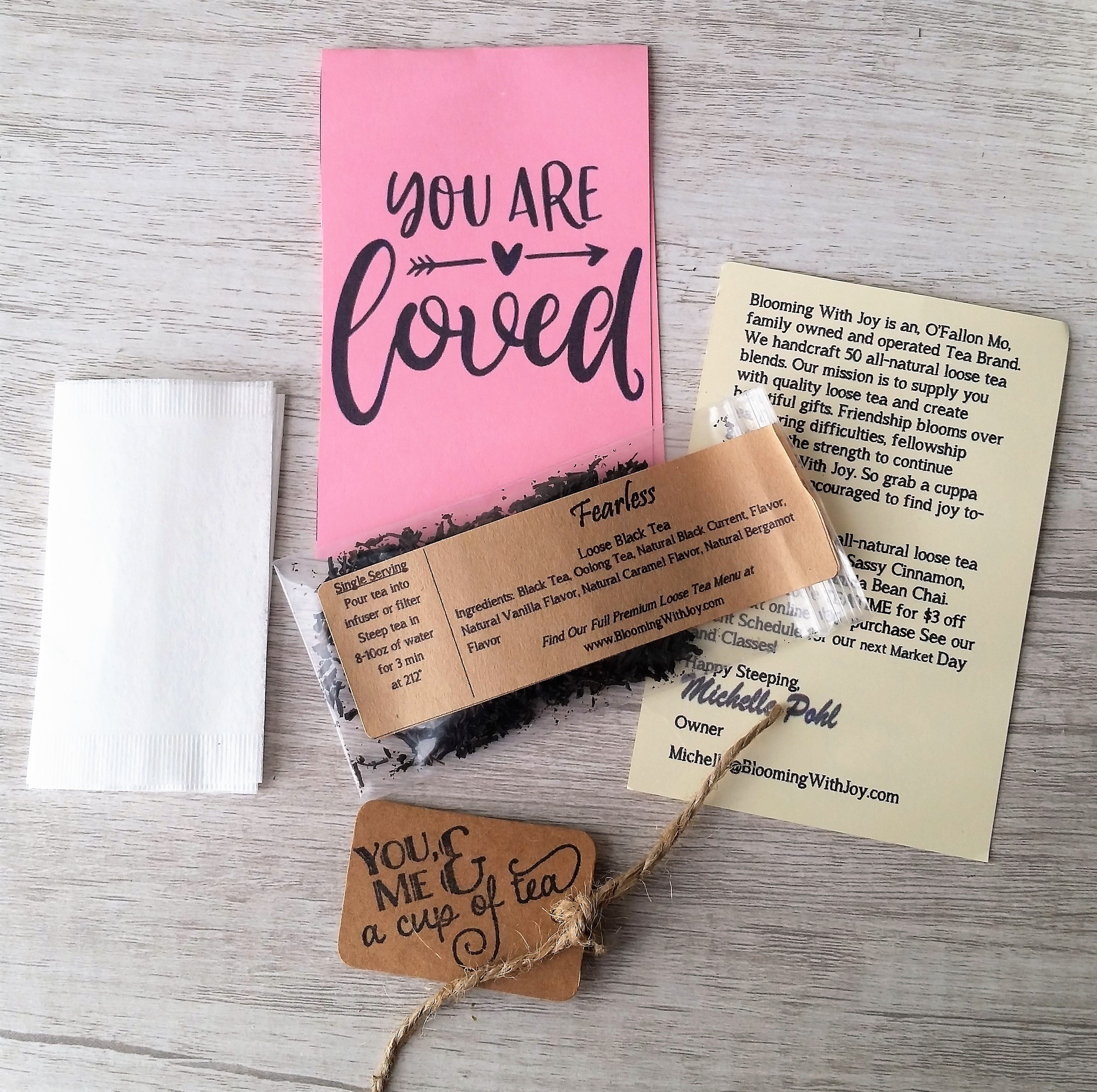 Your Are Loved Tea Party Favors sympathy card or condolence card