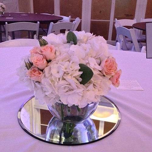 Hydrangea, spray roses in 5 in opening container