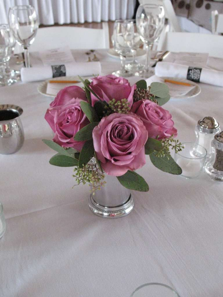 Roses in silver or gold mint julep cup
