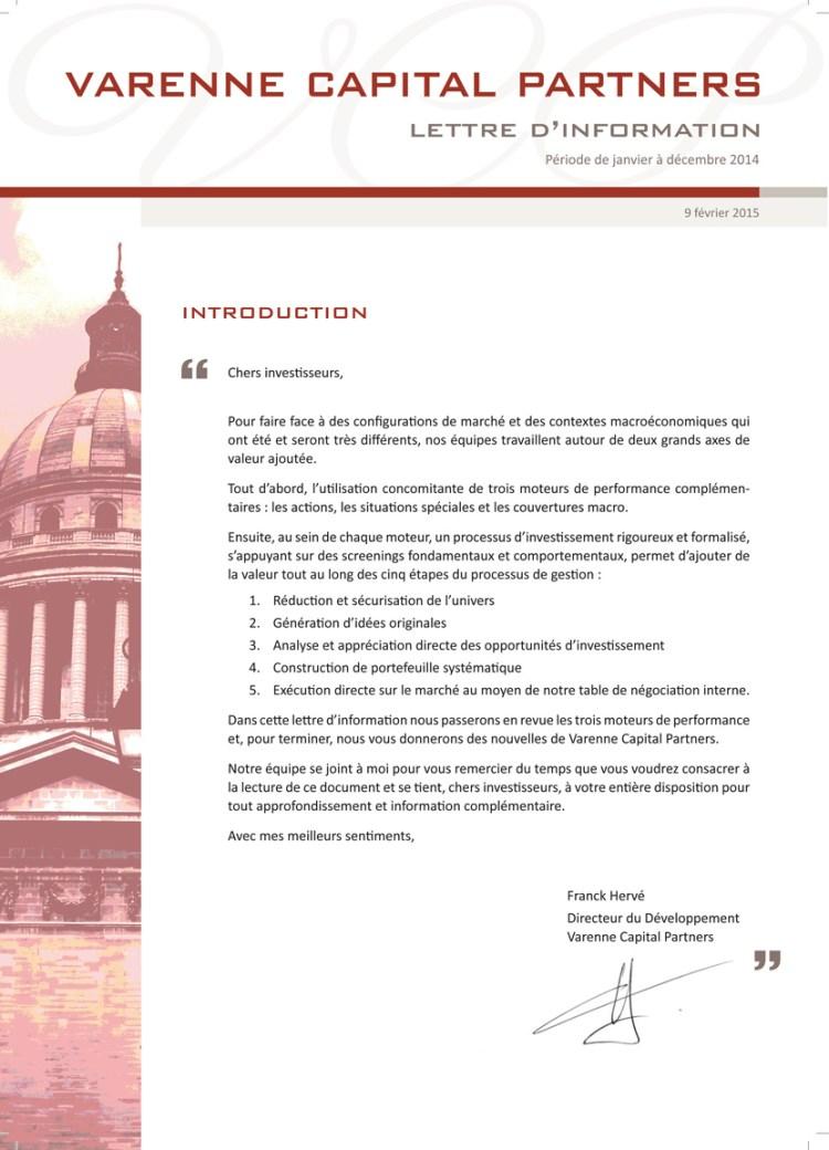 Lettre de gestion annuelle – Varenne capital
