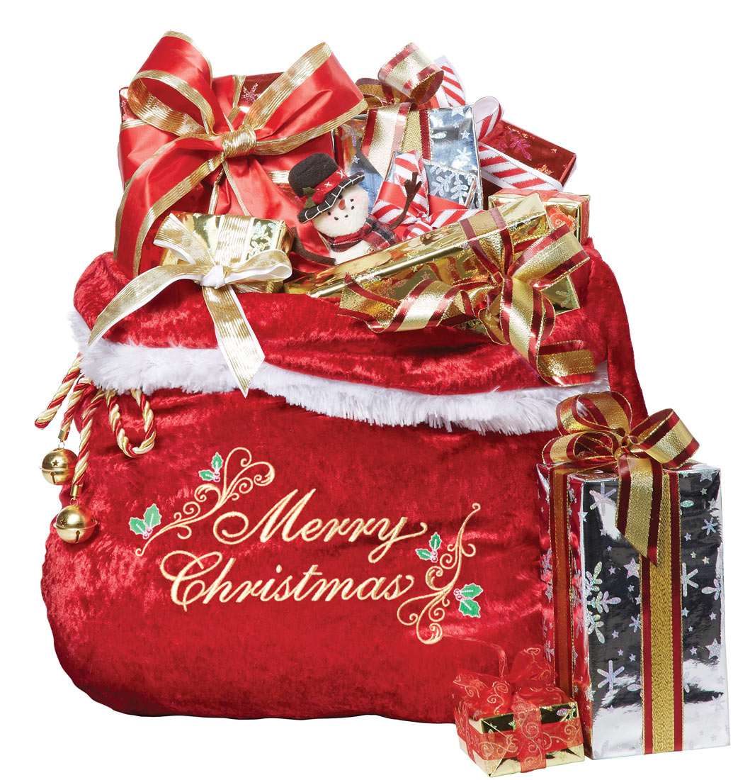 A439 Santa Claus Red Toy Sack Embroidered Bag Christmas