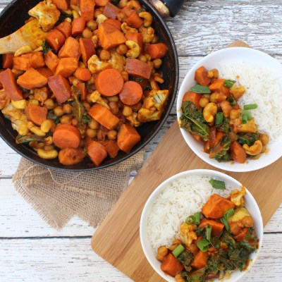 30 Minute Sweet Potato Chickpea Kale Curry