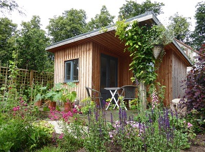 Cottage garden design with studio East Lothian