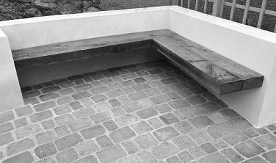 Edinburgh garden design with floating bench