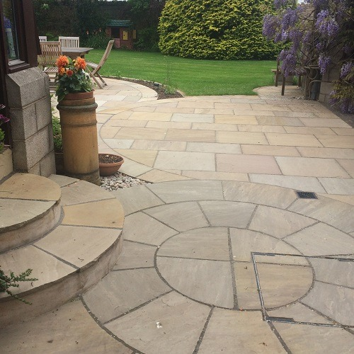 Circular patio East Lothian