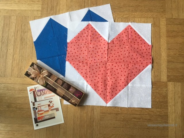 Bloc patch coeur pour quilting bee