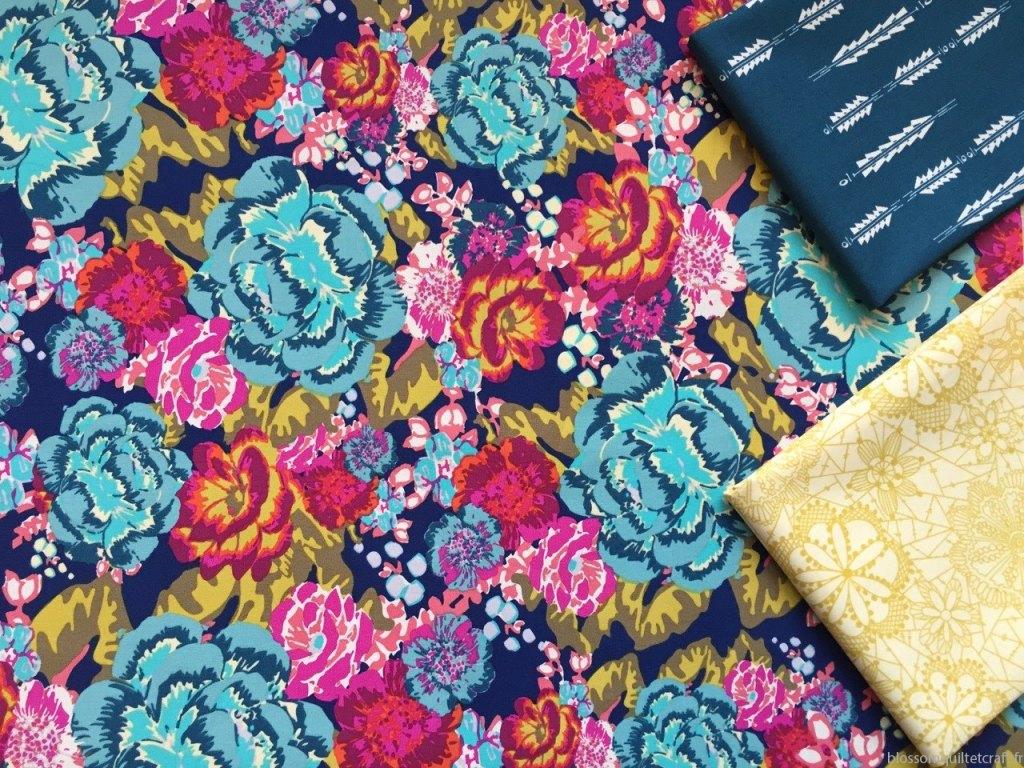 tissu pour patchwork moderne fleuri