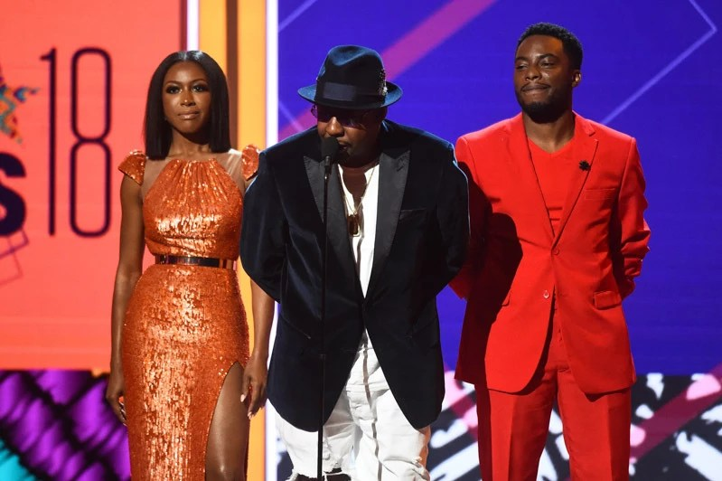 Mandatory Credit: Photo by Michael Buckner/Variety/REX/Shutterstock (9726158dl) Gabrielle Dennis, Bobby Brown and Woody McClain BET Awards, Show, Los Angeles, USA - 24 Jun 2018