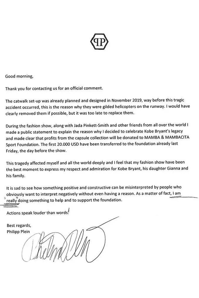 """Philipp Plein répond aux plaintes pour l'hommage """" déplacé """" rendu à Kobe Bryant"""