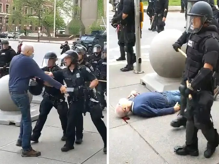 La police de Buffalo pousse un homme de 75 ans au sol qui saigne !