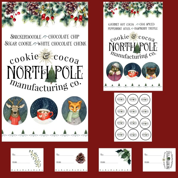 North Pole Cookie & Cocoa Manufacturing Christmas Printables | blowingawayoutwest.com - A Christmas Cocoa Bar and a downloadable set of hot chocolate bar prints with matching gift tags #christmasprintable #hotchocolatebar #cocoabar #christmasprints #gifttags