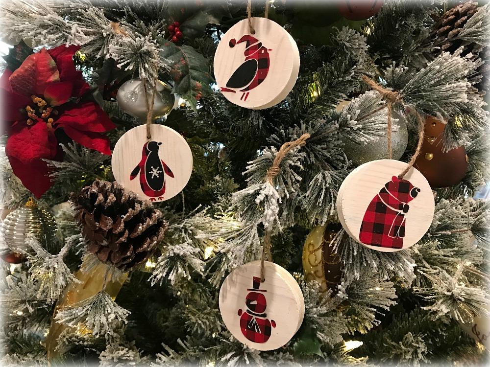 Scandinavian Buffalo Check DIY Christmas Tree Ornaments
